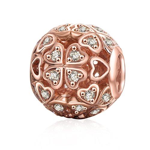 Soulbeads gioielli quadrifoglio charms con oro rosa chiaro CZ 925sterling Openwork Heart charm per braccialetti