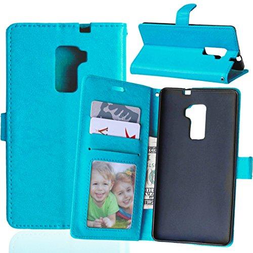 Funda Huawei Mate S ,Bookstyle 3 Card Slot PU Cuero cartera para TPU Silicone Case Cover-Azul