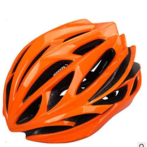 jiujin Casco de Ciclismo, Casco Duro para Bicicleta de Adulto, Ligero, Ajustable, Transpirable, cómodo y de Seguridad, Color Naranja, tamaño Talla única