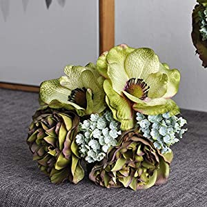 ZHANGYU Home Decoration Table Decor Silk DIY Bridal Mixed Artificial Peony Anemone Fake Flower Flux Plants Wedding Bouquet(Green)