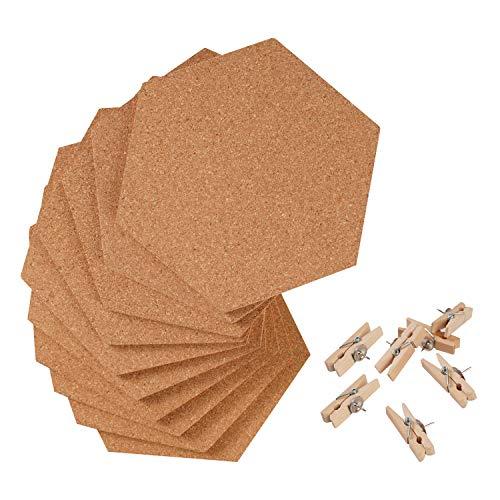 Corksidol Hexagon Cork Board Tiles - 10 Pack Ultra Self-Adhesive Bulletin Board - Cork Tiles for Walls in School, Dorm, Home, Office - Bonus 50 Wooden Clamp Push Pins
