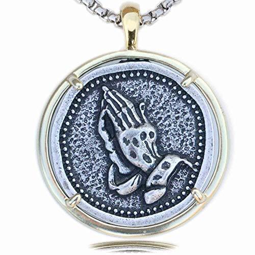 n a Gebetshände Männer Christlicher Schmuck Landungsschiff Katholisches Gebet Anhänger Religiöse Medaille Amulett Geschenk