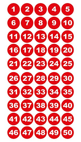 Runde Zahlenaufkleber 1-50, Vinyl - 30mm - weiße Zahlen auf rot