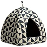 Hollypet Cat Bed Kitten Bed Cat Tent 2-in-1 Comfortable Igloo Pet Bed with Removable Cushion Cat Sleeping Cave House, Grey Triangle, M(40 * 40 * 43cm)