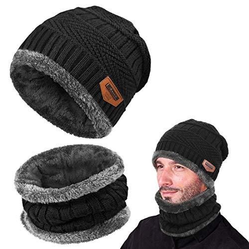 Yuson Girl Cappello Uomo invernale Berretti e Sciarpe Uomo con sciarpa Uomo Berretti in maglia (Nero)