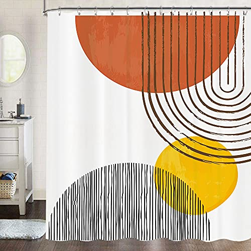 Mid Century Shower Curtain Set for Bathroom Abstract Sun Minimalistic Curve Aesthetic Fabric Shower Curtain, Modern Geometric Bathtub Curtains Bath Accessories 72Wx72H Inch 12 Pack Hooks, Beige