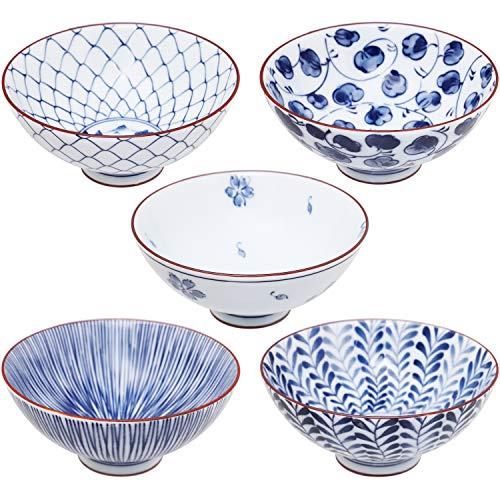 Mino Ware Japanese Pottery Set – Traditional Japanese Rice Bowls – Blue and White Asian Bowls – Hand Painted Bowls – Premium Japanese Ceramic – 5 pieces Japanese Soup Bowl Set