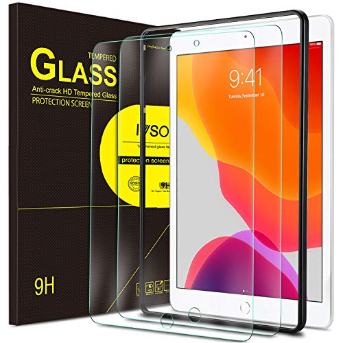 IVSO Screen Protector for iPad 8/7 10.2, for iPad 10.2 2020/2019 Screen Protector, Tempered-Glass Flim Screen Protector for iPad 8th Generation 2020/iPad 7th Generation 2019, 2 Pack