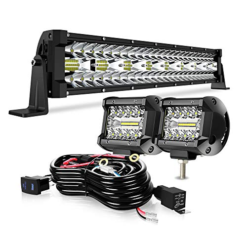 DOT 22Inch Triple Row 450W LED Light Bar+2PCS 4Inch Led Fog Cube Pods+Wiring Kit For Driving Lamps Marine Boat Ram Polaris Honda Can Am Defender Dodge GMC UTV ATV Frontier Commander Tractor 4 wheeler
