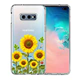 Galaxy S10e Case, Unov Clear with Design Soft TPU Shock Absorption Slim Embossed Flower Pattern Protective Back Cover for Samsung Galaxy S10e 5.8in (Sunflower Blossom)