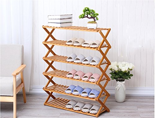 90cm Longue Multi-Couche Shoe Rack Bamboo Frame Shoe Shoe Shoe Cabinet Folding Racks Multi - Couche Simple Shoes Rack Dust - Preuve Solide Rack en Bois Chaussons (Taille : 6)
