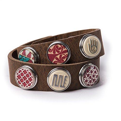 Noosa Armband Wrap Bracelet Double Skinny midbrown, Grösse:XS