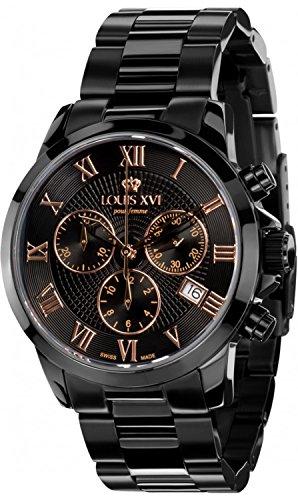 LOUIS XVI Damen-Armbanduhr Athos Pour Femme Stahlband Schwarz Rosegold Chronograph Analog Quarz Edelstahl 412