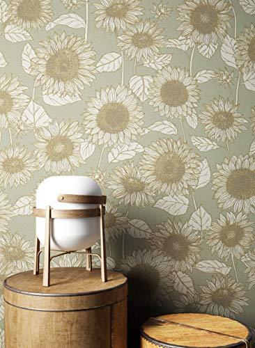 NEWROOM Tapete Grau Vliestapete Blumen - Blumentapeten Floral Grün Creme Sonnenblumen Natur Mustertapete Landhausstil inkl. Tapezier-Ratgeber