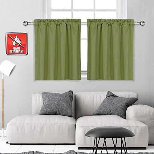 KEQIAOSUOCAI Black Valances for Windows Blackout 18 Inch Valance Short Curtains for Kitchen Bathroom Living Room 1 Panel 52W x 18 L