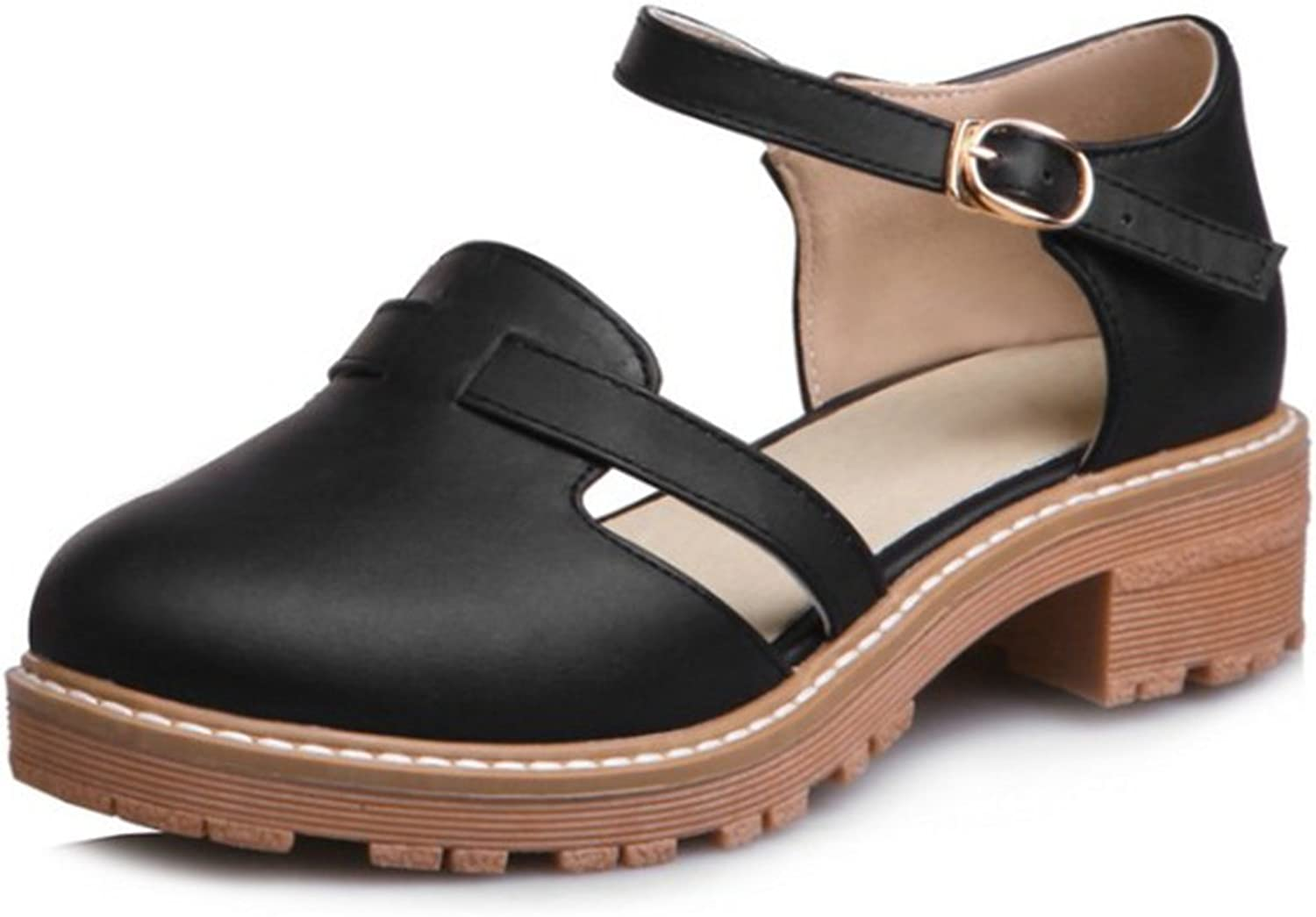IDIFU Women's Casual Hollow Out Chunky Ankle Strap Pumps shoes Medium Heels