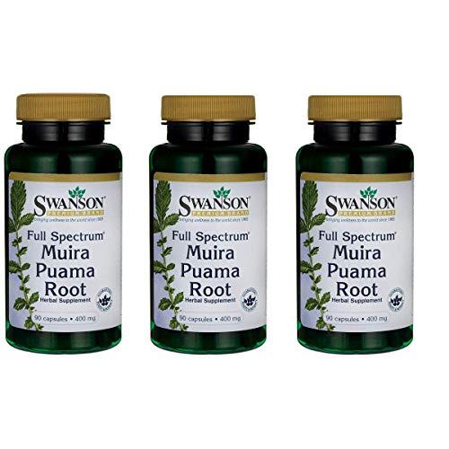 Swanson Muira Puama Root Sexual Health Virility Libido Boost Support Men's Women's Supplement 400 mg 90 Capsules (3 Pack)