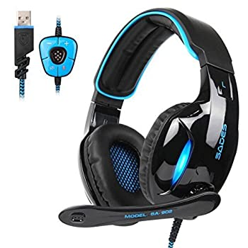 SADES Newest SA902 7.1 Channel Virtual Surround Sound USB Gaming Headset Over-ear Headphones with Noise Isolating Mic LED Light for PC Mac Computer Gamers Black Blue