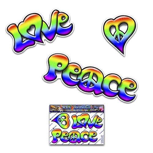 JAS Stickers® Peace Love Lustiger Autoaufkleber - Regenbogen Kleines Vinyl-Aufkleberpaket für Laptop-Gepäck Fahrrad Motorrad Caravans Van Camper LKWs & Boote - ST00065_SML