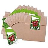 10 kleine braune Geschenktüten Papiertüten Geburtstagstüten 13 x 18 + 2 cm Lasche + mit Aufkleber Fußball FÜR DICH perfekt für die Fußball-Party und jeden Fußball-Fan Verpackung...