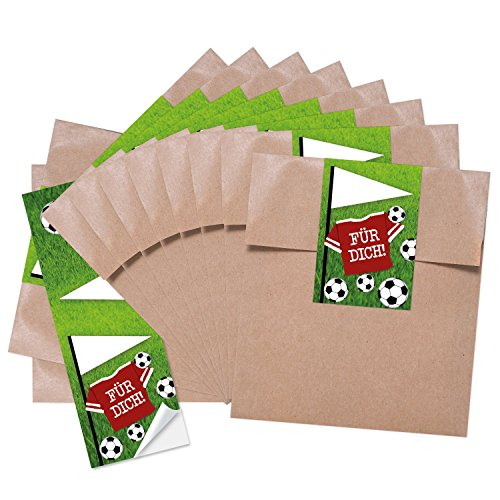 10 kleine braune Geschenktüten Papiertüten Geburtstagstüten 13 x 18 + 2 cm Lasche + mit Aufkleber Fußball FÜR DICH perfekt für die Fußball-Party und jeden Fußball-Fan Verpackung Kinder