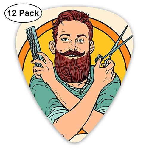 Gitaar Pick Hipster Barber Schaar Kam Barbershop 12 Stuk Gitaar Paddle Set Gemaakt Van Milieubescherming ABS Materiaal, Geschikt voor Gitaren, Quads, Etc
