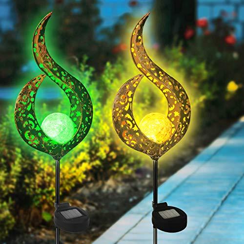 Beinhome 2er Solar Gartenleuchten Crackle Glaskugel Metallpfahl Wasserdicht Außen Deko Leuchten Warmweiß für Terrasse,Hof,Rasen,Weg