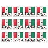 LUOEM Flagge Fahne Mexiko Länder Temporäre Tattoos Aufkleber Fanartikel Fussball WM 2018 12 Stücke Mexico