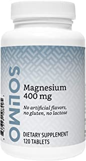 Amazon Brand - Solimo Magnesium 400 mg, 120 Tablets, Four Month Supply (Packaging may vary)