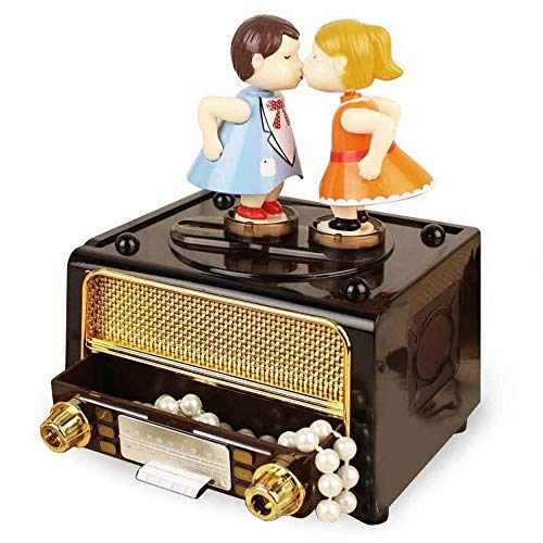 Radio Model Music Box Ornamenten Classic Giften Kus Paar Doll Mechanism Music Box Crafts For Lovers Presents QPLNTCQ