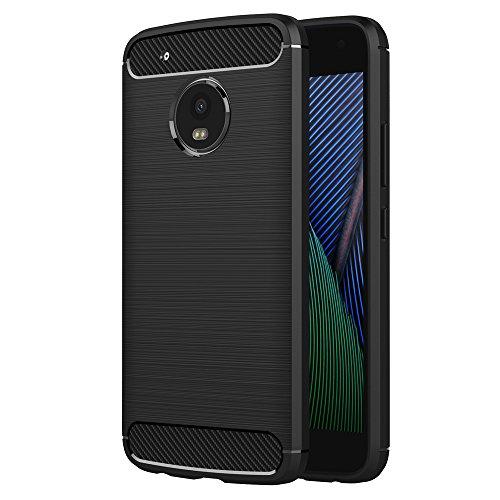 AICEK Cover Moto G5 Plus, Nero Custodia Lenovo Moto G5 Plus Silicone Molle Black Cover per Motorola Moto G5 Plus Soft TPU Case (5.2 Pollici)