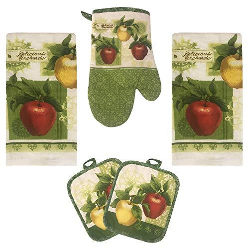 Lobyn Value Packs Apple Orchards Kitchen Towel 5 Piece Linen Set 2 Towels 2 Pot Holders 1 Oven Mitt