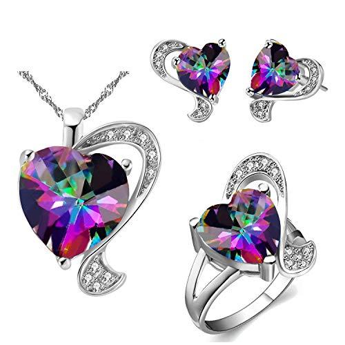 Collar con colgante de corazón de topacio místico creado con topacio arcoíris multicolor en forma de amor, aretes de cóctel, anillo de cristal de la joyería de la boda para las mujeres regalo T269