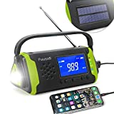 Emergency-Radio with NOAA Weather Alert, 4000mah Hand Crank Portable Solar Survival Radios with Aux,Electronic Display,AM/FM,SOS Alarm,Led Flashlight,Phone Charging,Battery Backup (Green)