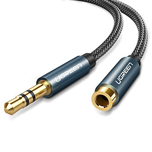 UGREEN Audio Verlängerungskabel Kopfhörer 3.5mm Klinke Verlängerung Kabel Aux Verlängerung Klinkenkabel Premium Nylon Ummantelung 24K Vergoldete Kontakte Blau 5M