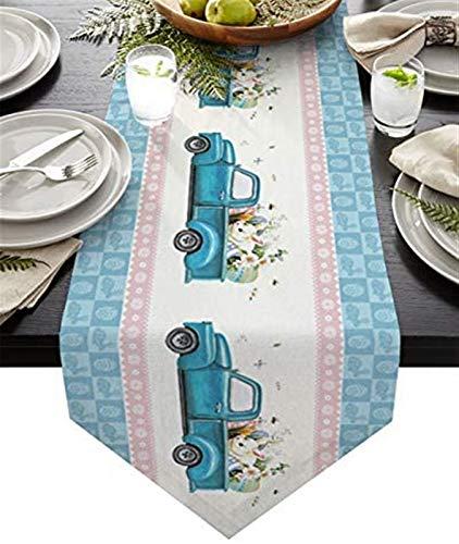VJRQM Chemin de Table Basse Pâques Camion de Ferme Lapin Oeuf de Lapin Buffalo Plaid Chemin de Table en Toile de Jute Extra Long 72 Pouces pour dîner de Banquet de Vacances à la Ferme