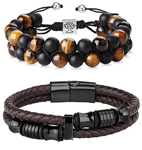 FIBO STEEL Beaded Bracelets Set Natural Stone Tiger Eye Mens Braided Leather Bracelet Bangle Rope Brown