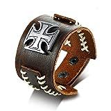 Stilvolle Vintage Stitching Echtes Echtes Leder Malteser Kreuz Wickel Armband Für Männer Armband Männlich Retro Schmuck Pulseira
