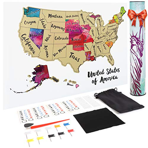 JARLINK Scratch off USA Map, 12X17 inches United States Map with Unique Accessories Set,...