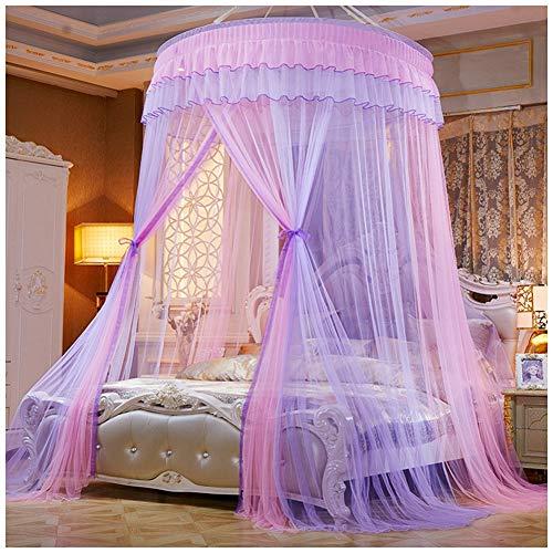 Große Romantische Kuppel Moskitonetz Vorhang Bett Baldachin Runde Prinzessin Traum Betthimmel Deko Moskitonetz Insektenschutz Pink Lila(Höhe:2.7M)