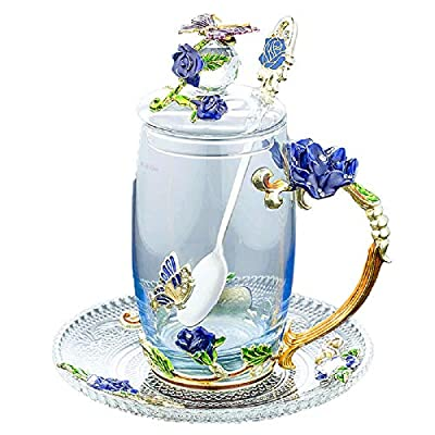 Glass Tea Cup Coffee Mug, Handicraft 3D Vintage Flower Cup with Lid Coaster and Tea Spoon, Unique Butterfly and Blue Rose Enamel Design, Best Gift Decoration (350ml, 11.84 oz)