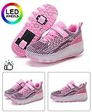 nnn 7 Colorés LED Chaussures à roulettes avec USB Rechargeable,Deux Roues Technique Skateboard Chaussures,Respirant Rétractable Rollerblades pour Unisexe Enfants,Pink-39