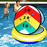 Pool Toys Sticky Balls Toss Game, Watermelon Swimming Pool Toys Dart Board with 6 Balls 1 Pool Floats 24¡± Inflatable Summer Toys Yard Games for Kids Teens Adults Cornhole Board Party Beach Toys