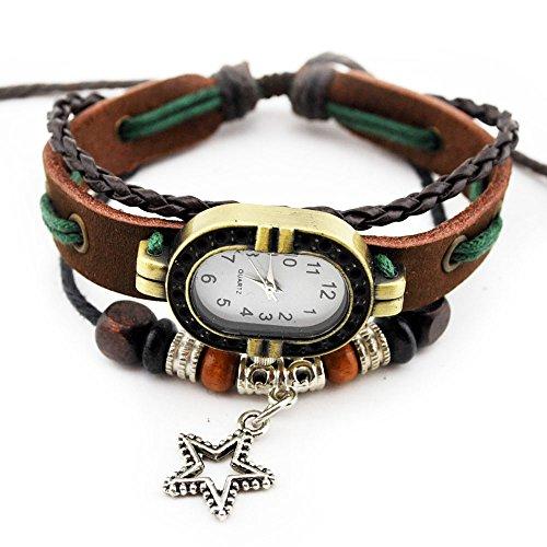 Tibet axy in pelle Orologio da polso SERIE 1 TIBAU1! Leather ying-yang orologio bracciale, colore: Modell 2, cod. TIBAU1