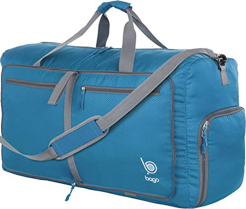 Bago 60L Duffle Bags for Men & Women - 23' Foldable Travel Duffel Weekender Bag (Blue)
