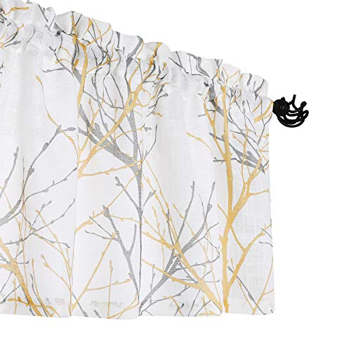"""Fmfunctex White-Yellow Window Valance Curtain for Living Room 18"""" Grey Branch Print Valance for Kitchen 50"""" W x 18"""" L, 1 Panel"""