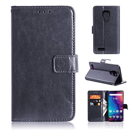 YundEU Leder Hülle für Ulefone Note 7P (2019),Retro Ölwachs Premium Pu Leder Magnet Ständer Klapptasche Kartenfäche Flip Schutzhülle Tasche Brieftasche Handyhülle, Schwarz