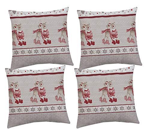 Set 4 Cuscini 42x42 cm in 4 Colori Arredo Invernali Natale Maglia Natalizio Renne Tirolese Tirolesi - Rosso - 42x42 cm