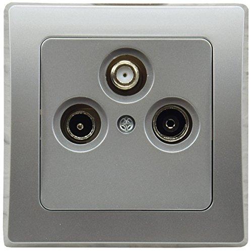 DELPHI Antennendose TV Sat Kabel Fernsehen Radio Digital Full-HD UHD 4K tauglich End Dose mit 1-fach Rahmen Silber Grau