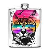 7 Unze Edelstahl Flask Pot Flachmann Katze trägt Sonnenbrille Wasserkocher Jug Rum Container...